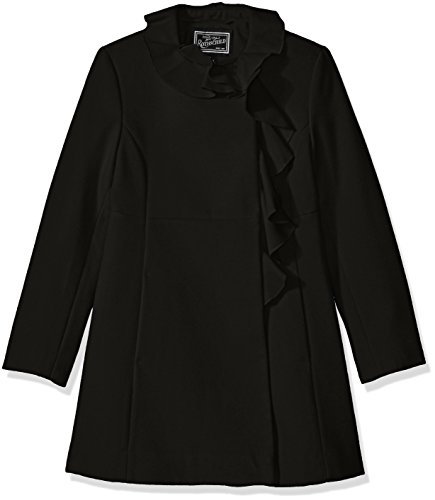 Trim Ruffle Coat - Rothschild Girls' Big Faux Wool Coat with Ruffle Trim, Black, 16