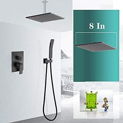 ducha empotrada negro en el techo, con válvula de desvío ...