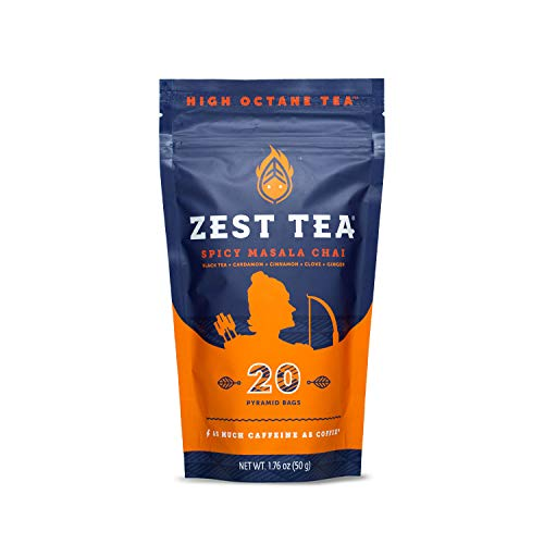 Zest Tea Energy Hot Tea, High Caffeine Blend Natural & Healthy Traditional Coffee Substitute, Perfect for Keto, 150 mg Caffeine per Serving, Spicy Masala Chai Black Tea, 20 Sachets (1 Pouch)