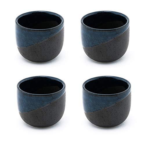 Fuji Merchandise Porcelain Sake Cups 2 fl oz Japanese Restaurant Supply (Blue Sake Cups 4) by FMC Fuji Merchandise Corp