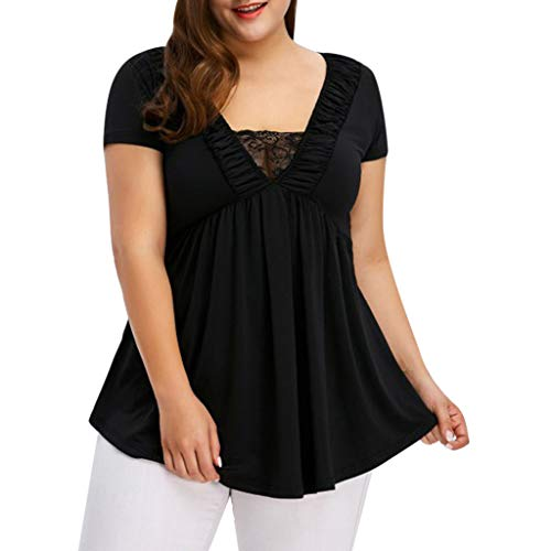 Women Tops Summer Plus Size Tops Solid Lace Stitching Short-Sleeved Shirt Black