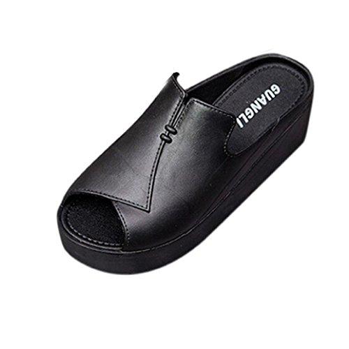 Elevin (tm) 2017 Donne Estate Casual Alta Spessa Piattaforma Scarpe Moda Peep Toe Infradito Sandali Pantofole Nero