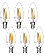 LE E14 LED-lampen kleine schroef, heldere SES kaarslichten, 40W gloeilamp equivalent, 4W, 400lm, warm wit 2700K voor kroonluchters, plafondlampfittingen, 6 stuks