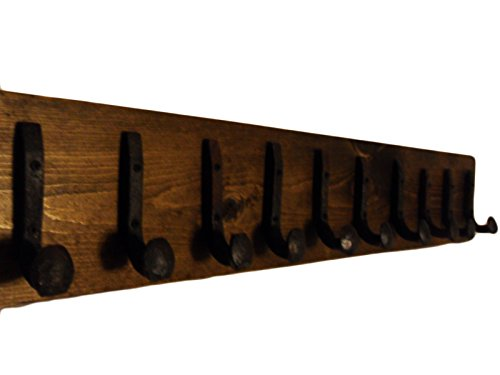 Antique Iron Rail - Heavy Duty Coat Hat Robe Tool Towel Hook Rail Rack Wall Mount Storage Display Rustic Holder Architectural Reclaimed Organizer Kitchen Bathroom Foyer Bedroom Closet Garden Garage Accessory Wooden Antique Vintage Metal (Dark Walnut and Antique Iron, 40