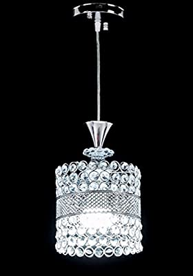 Top Lighting Chrome Finish 1-light Round Metal Shade Crystal Chandelier Hanging Pendant Ceiling Lamp Fixture