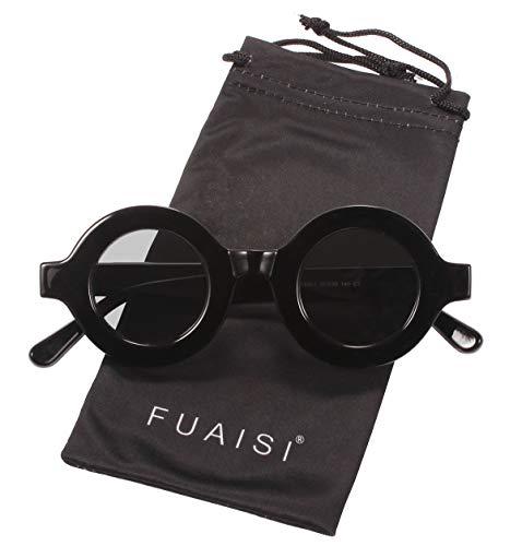 Fuaisi Retro Fashion Oversized Thick Bold Frame Round Sunglasses Anti-UV Outdoor Colorful Glasses (Black Frame/Gray ()