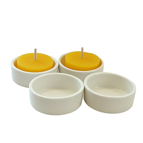 Porcelain Tealight Candle Holder (set of 4), Round, White, PSLT17