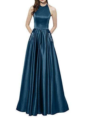 Brau Dunkel Blau La Linie Abschlussballkleider Brautmutterkleider Hundkragen mia Lang A Abendkleider Satin Partykleider 5UpfqgwUn