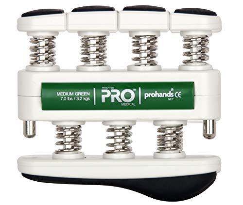 Prohands PRO Hand Exerciser, Finger Exerciser (Hand Grip Strengthener), Spring-Loaded, Finger-Piston System, Isolate and Exercise Each Finger, (7 lb Medium Tension, Green-Pro Rehab)