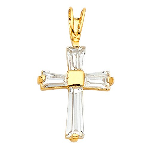 Ioka - 14K Yellow Gold Fancy Cross Tapered Baguette Cubic Zirconia CZ Religious Charm Pendant For Necklace or Chain