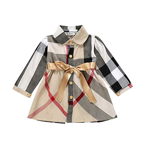 YDuoDuo 1-5T Baby Toddler Girl Spring Fall Dresses Outfit Long Sleeve Plaid Shirt Casual Cotton Dress with Waistbelt Brown (Burberry Shoes Kids)