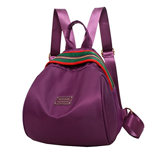 Lilimay Vintage Nylon Backpack Women Backpack Camping Backpack Picnic For University And School Sport, 21 * 7 * 26cm Purple