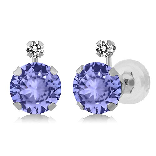 1.87 Ct Round Blue Tanzanite and White Diamond 14K White Gold Women's Earrings - White Gold Diamond Tanzanite Earrings