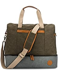Weekender Canvas Travel Duffel Bag, Easy fit over Carry On - Packing Made Easy