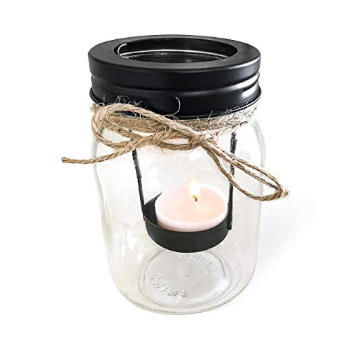 - Pint Jar Burlap Tealight Candleholder With Tealight Candle Included, Outdoor Tea Light Party Decor