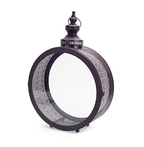 (Melrose Round Inlay Decorative Metal and Glass Lantern (Black))