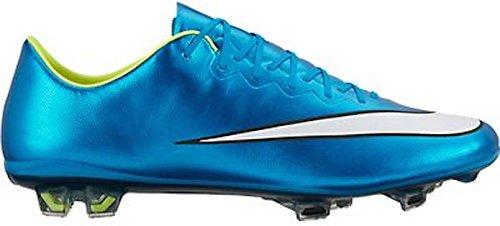 Nike Womens Mercurial Vapor X FG Soccer Cleat (Blue Lagoon, Volt)
