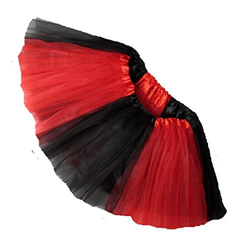 Raider Cheerleader Costume (Southern Wrag Company ADULT TEAM SPIRIT Tutu BLACK RED Sizes S-XXL (L:TUTU WAIST)