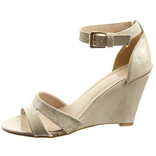 Sopily - Scarpe da Moda sandali scarpe decollete Aperto alla caviglia donna lucide Pelle di serpente fibbia Tacco zeppa 9.5 CM - Beige