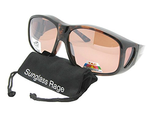 Polarized Glass Lens Sunglasses (Style F19 Largest Polarized Fit Over Sunglasses With Sunglass Rage Pouch (Shiny Tortoise-Amber Lens, 2 3/4))