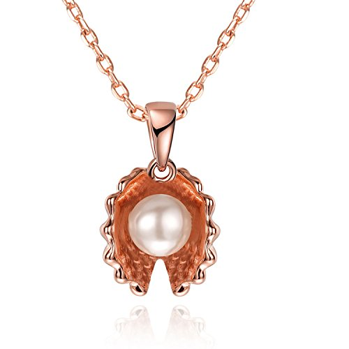 (YOUFENG Mothers Day Gifts Heart Flower CZ Necklace Pendant Womens Jewelry Gift for Mom Women 18K Rose Gold Plated (Seashell pearl necklace))