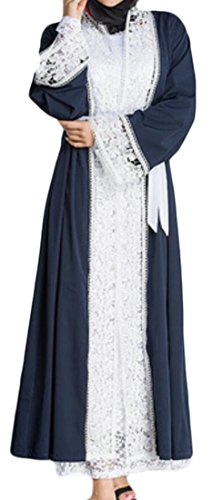 Islamic Picture Domple Sleeve Long Dress As Patchwork Women Party Muslim Long Kaftan Lace SSY71w