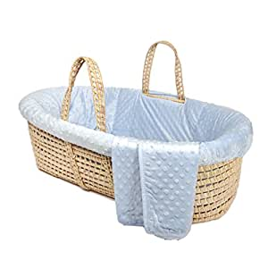 Tadpoles Minky Dot Moses Basket and Bedding Set, Blue