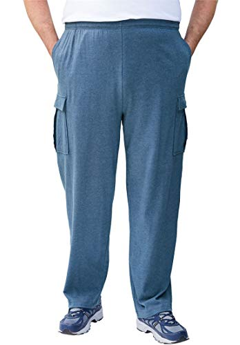 King Fashions Athletic Sweatpants - KingSize Men's Big & Tall Lightweight Cargo Sweats, Heather Slate Blue Big-3Xl