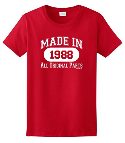 ThisWear 30th Birthday Gift Made 1988 All Original Parts Ladies T-Shirt