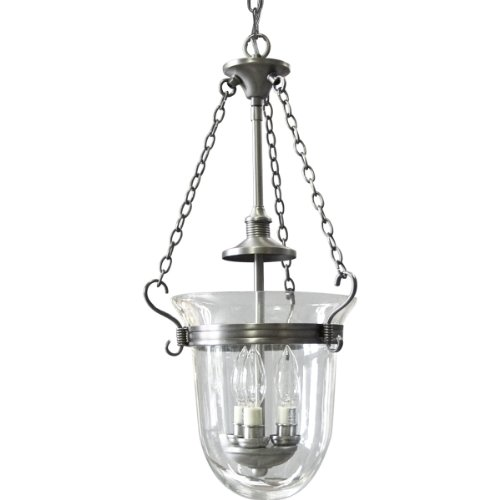 Progress Lighting P3617-81 3-Light Inverted Foyer with Clear Hurrican Glass Shade, Antique Nickel -