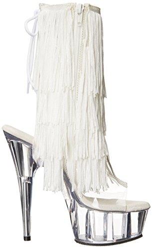 Pleaser DEL1017TF Damen Fransen Sandalette Weiß