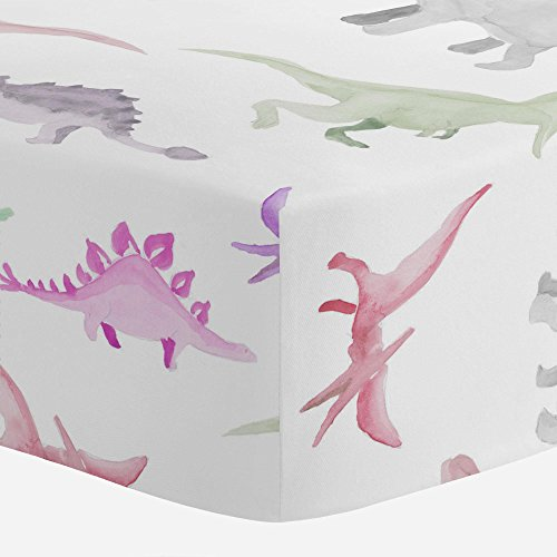 Carousel Designs Pink Watercolor Dinosaurs Crib Sheet - Orga
