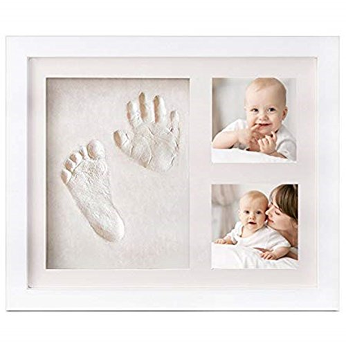 Baby Photo Frame with Handprint & Footprint Kit, Best Gifts for Newborn Girls and Boys Shower Registry Keepsakes(White)