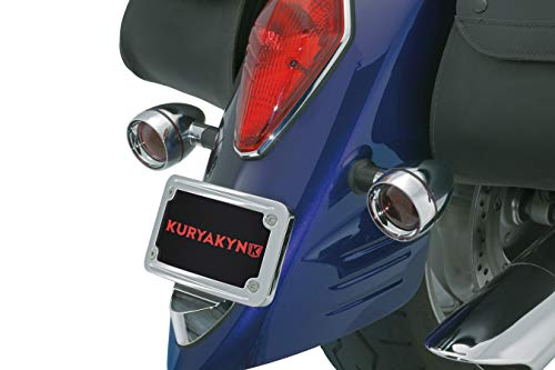 Kuryakyn 9171 Motorcycle Accessory: Curved Laydown License Plate Mount with Frame for Harley-Davidson, Honda Motorcycles and Custom Applications, Chrome