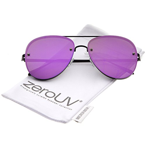 zeroUV - Modern Slim Metal Frame Brow Bar Colored Mirrored Flat Lens Aviator Sunglasses 60mm (Black / Purple - Aviators Mirrored Colored