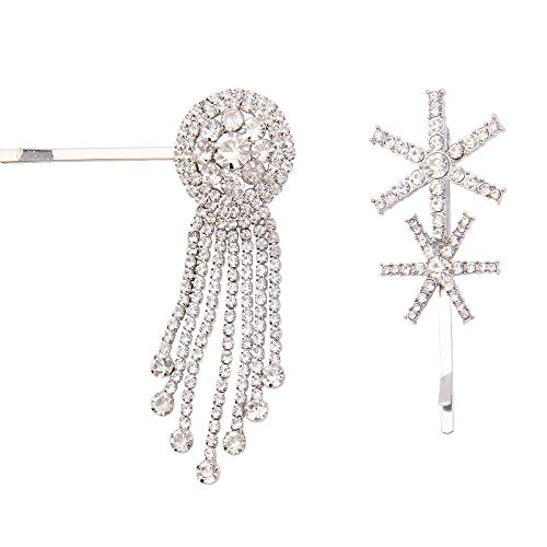 Dreamcatcher Rhinestone Bobby Pins - 2 Pack Crystal Hair Pins w/Tassel - Snowflake Hair Clip Vintage, Gift Idea for Lover, Mother, Sister, Bride, Colleague, Rustic Wedding, Daily Wearing