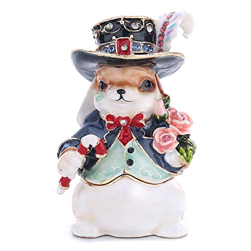 - Easter Day Gifts for Her for Him Birthday Gifts for Women Fine Pewter Boxes Jeweled Rabbit Trinket Small Box with Crystal Rabbit Decor Jewelry Holder Organizer Trinket Boxes Hinged
