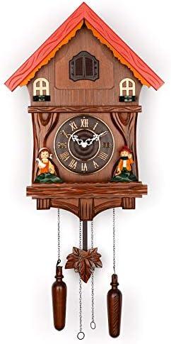 Cuckoo Bird Clock with Light Sensor, Swinging Pendulum and Moving Cuckoo Brown