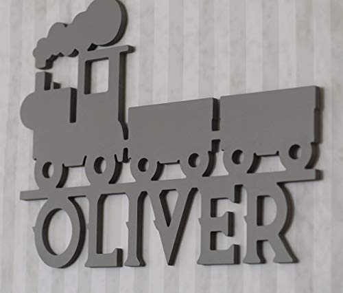 Custom Train Wooden Name Sign, Custom Boys Room Decor, Children's Room Monogram Wood Cutout, Personalized Kids Room Sign