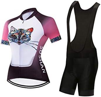 女性半袖サイクリングジャージ付きゲルパッド入りクイックドライ衣装自転車服セット用ロードバイク