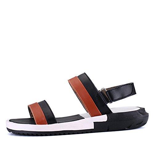 Sommer Männer Schuh Männer Freizeit Sandalen Echtleder Gemütlich Strand Schuh Mode Flip Flops Sandalen ,schwarz and braun,US=7,UK=6.5,EU=40,CN=40