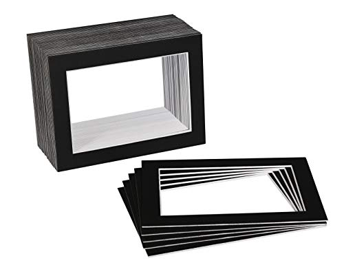 Golden State Art, Acid Free, Pack of 100 5x7 Black Picture Mats Mattes with White Core Bevel Cut for 4x6 - Acid 4 Ply Mats Free