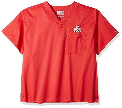 WonderWink Unisex-Adult's Ohio State University V-Neck Top, red, SM