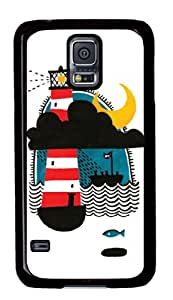 Exquisite Design Amazing painting Night light Black Plastic Protective Samsung Galaxy S5 I9600 Back Cover Case-10