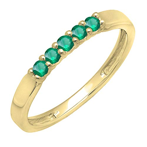 (Dazzlingrock Collection 10K Round Emerald 5 Stone Ladies Anniversary Wedding Band Ring, Yellow Gold, Size 5.5)