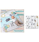 aden + anais Baby Bonding Playmat and Jungle Jam Swaddle Blanket 4 Pack Gift Set Bundle