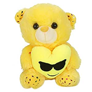 Large Emoji Teddy bear toy with heart yellow