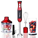 Immersion Blender LINKChef 4-in-1 Hand Blender Stick Powerful Low Noise Large 800ml Beaker