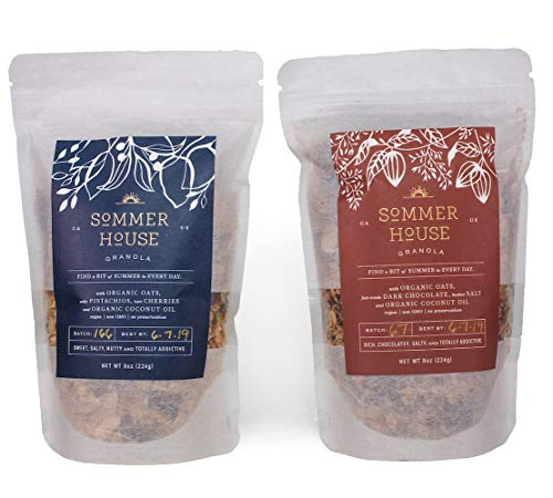 Sommer House Mixed Granola Pack Cherry-Pistachio + Salted Chocolate | Organic, Non-GMO, Nutrient-Rich Whole Foods with Cereal, Oats, Coconut | Vegan, Healthy Snacks | 2-Pack x 8oz