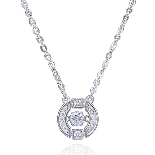 RHHY-FIROD 925 Sterling Silver Beating Heart Necklace, Hand-Set Zircon Craft, Tail Extension Chain Design Adjustable Length